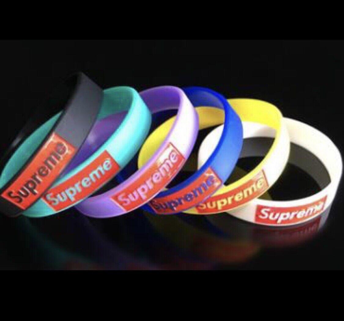 1  SUPREME wristband BLACK WHITE YELLOW BLUE bracelet silico