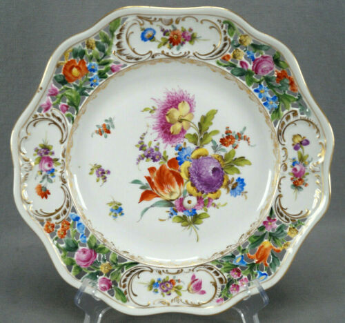 Carl Thieme Dresden Hand Painted Floral & Gold Reticulated Dinner Plate J