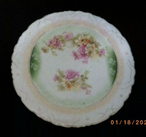 ANTIQUE VINTAGE ROUND PORCELAIN TRIVET HOT PLATE TEA TILE PINK DAISY MOTIF