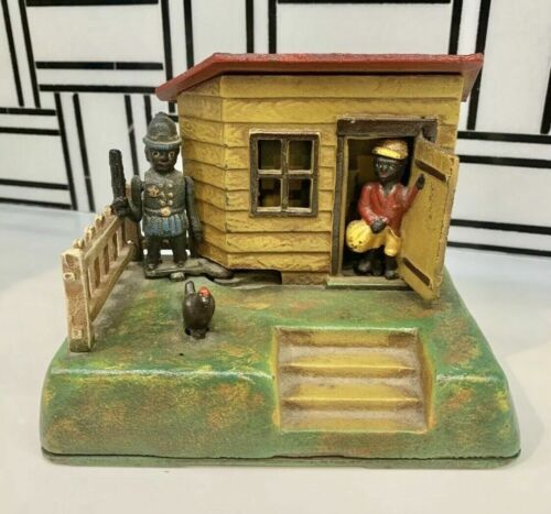 """Uncle Remus"" Mechanical Coin Bank Cast Iron ""Book of Knowledge"" .. Org & Strong"