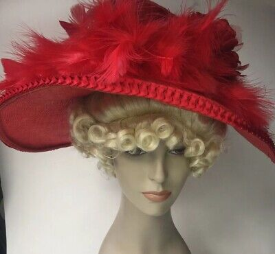 Beautiful Victorian Inspired Red Wide Brim Feather Hat