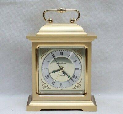 Vintage Seth Thomas Rapture Brass Desk Mantle Alarm Quartz Clock #4RE703 Japan