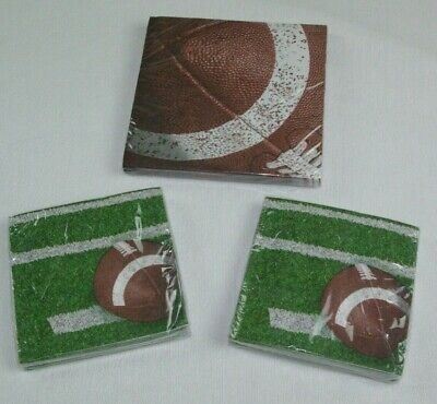 PARTY CREATIONS 3 PACKAGES OF 18 FOOTBALL THEMED NAPKINS 54 TOTAL SUPER BOWL - Football Themed Party