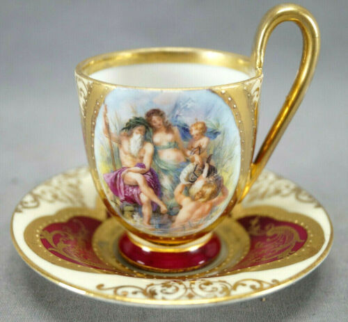 Bawo & Dotter Royal Vienna Style Neoclassical Scene Maroon & Gold Cup & Saucer