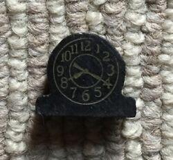 "Vintage Wooden Strombecker Dollhouse Table Clock - Black - 3/4"""