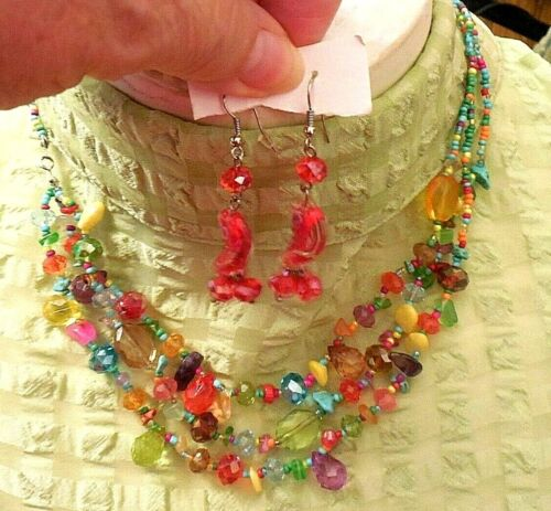 3 Strand Crystal Plastic & Stone Necklace & Beautiful Crystal Pierced Earrings