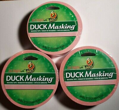Duck Masking Tape - Pink - 30 Yds .94 Inch Lot Of 3 Rolls