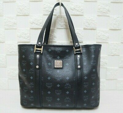 100% Authentic MCM Visetos Black Large Shopper Bag