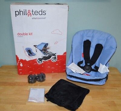 New Open Box PHIL & TEDS DASH STROLLER DOUBLE KIT BLUE MARL