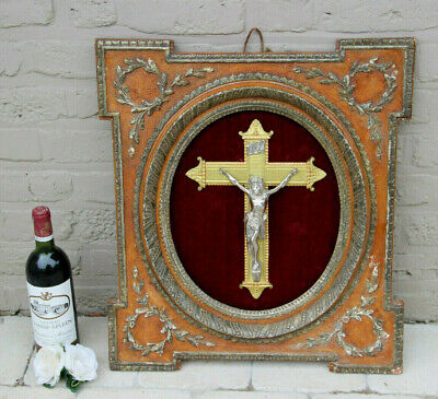 XL Antique French Religious crucifix cross frame wood plaster