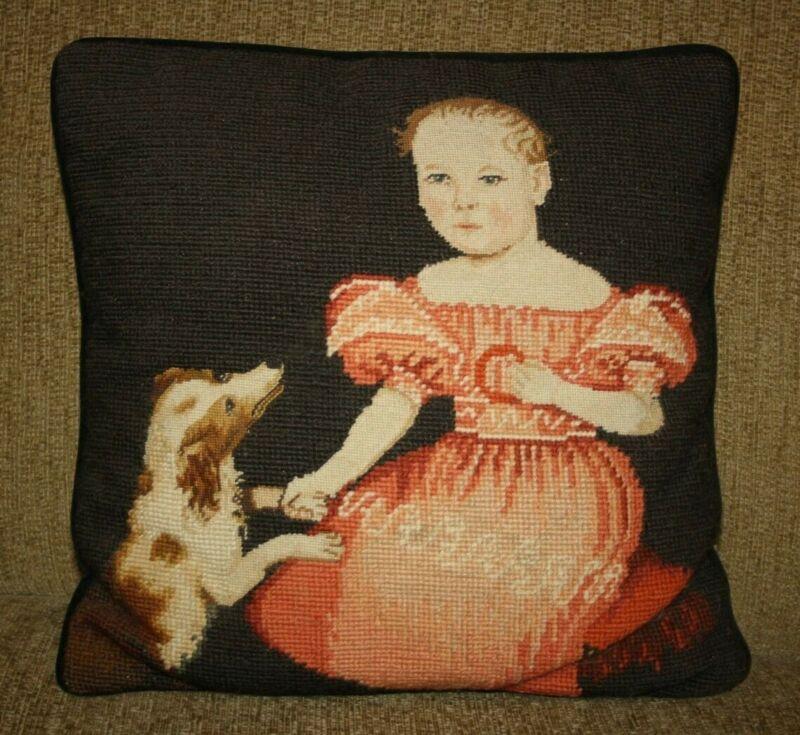 "vintage Victorian Girl with dog needlepoint pillow Steinwinder Enterprises 13"""