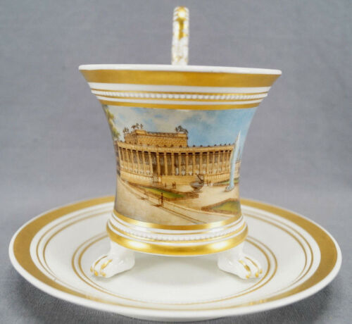 KPM Berlin Hand Painted WWI Altes Museum & Gold Snake Handle Empire Form Cup
