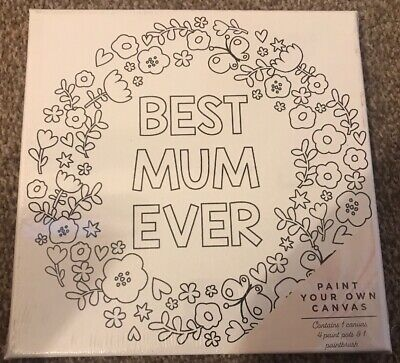 PAINT YOUR OWN CANVAS BEST MUM EVER DESIGN MESSAGE MOTHERS DAY GIFT (Best Canvas Painting Designs)