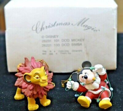 DISNEY CHRISTMAS MAGIC MICKEY AND SIMBA 2 ORNAMENTS