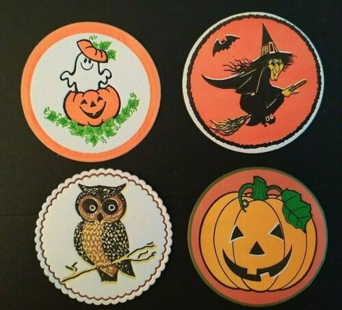Vintage *UNUSED* Halloween Coasters: Witch, Ghost, Owl & Jack-O-Lantern
