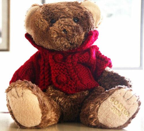 "Bando Toys Godiva 2004 Brown Teddy Bear Plush w/ Red Knit Coat 13"""