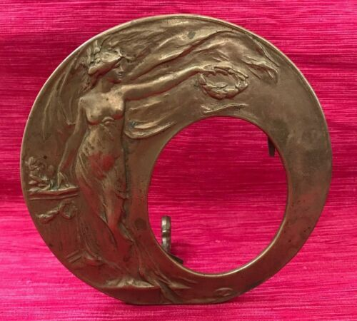 Antique Art Nouveau Brass Picture Frame with Goddess of Victory