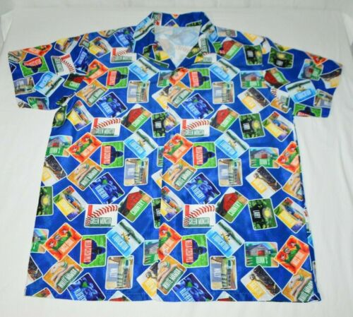 Wachusett Brewery Craft Beer Labels Hawaiian Style Aloha Camp Shirt Mens 2XL