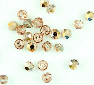 SWAROVSKI Vintage 5100 Crystal ROSALINE GOLD Faceted Lentil Beads 5mm (6 -