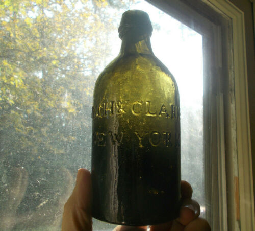 1830 EARLY PONTILED LYNCH & CLARKE NEW YORK OLIVE GREEN MINERAL WATER BOTTLE