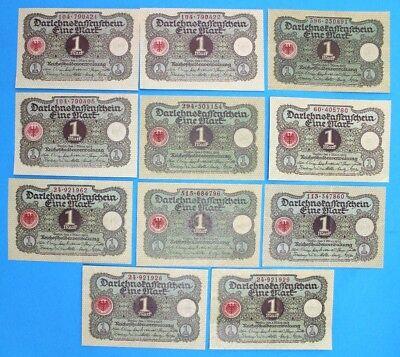 11x Ro. 64 Banknote 1 Mark 1920 Darlehnskassenschein TOP old Bill KSF UNC VortNr