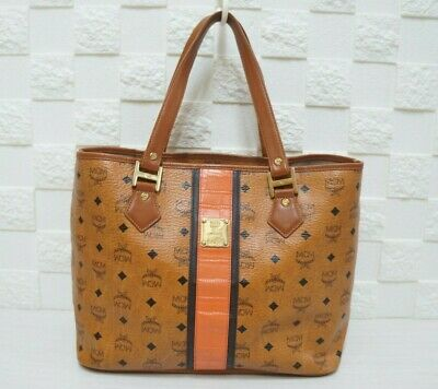 100% Authentic MCM Visetos Orange Trim Cognac Large Shopper Bag