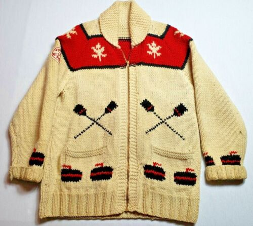Vintage 1965 Curling Sweater Thessalon Canada Bonspiel RARE! 44 Inch Chest