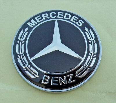 For MERCEDES BENZ C E SL CL S Class 57mm Black replacement hood emblem Free Ship