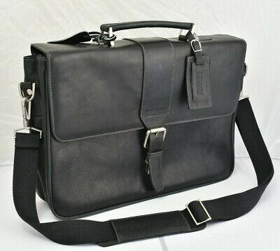 Kenneth Cole Reaction Flap over Messenger Bag Briefcase Black Leather Leather Flap Over Briefcase
