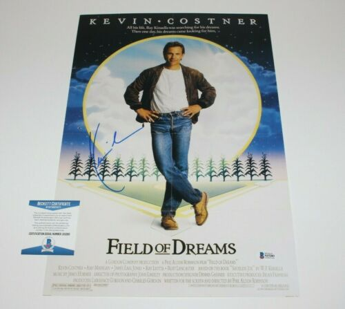 ACTOR KEVIN COSTNER SIGNED 'FIELD OF DREAMS' 12x18 MOVIE POSTER BECKETT BAS COA