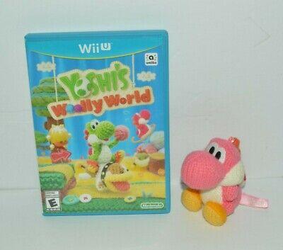 WII U YOSHI'S WOOLLY WORLD AMIIBO PINK YARN YOSHI FIGURE VIDEO GAME COMPLETE!