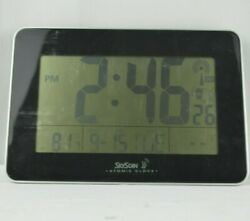 SKYSCAN Atomic Wall Desk Clock Digital Temperature Calendar - Black 88909