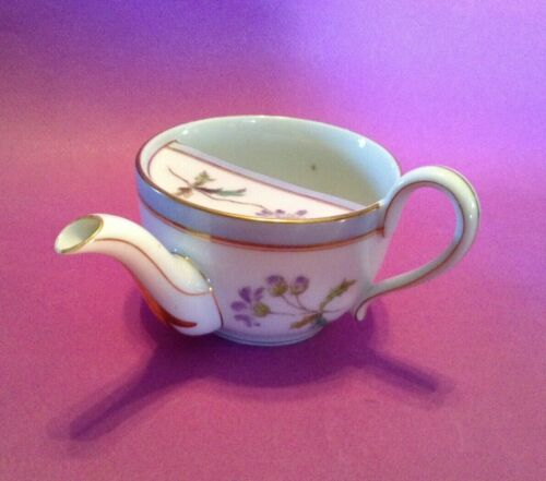 Hand Painted Invalid Feeding Cup With Spout And Handle - Purple & Blue - Japan