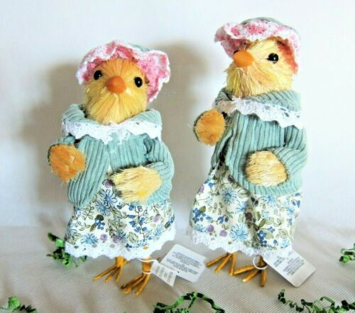"Pier 1 Spring Easter Dressed-Up Chick Sisters Figurines Home Decor 7"" Set of 2"