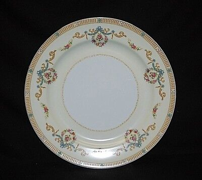 """Vintage 1930's Noritake Tybalt 10"""" Dinner Plate Floral Swags Blue Ribbon Yellow"""