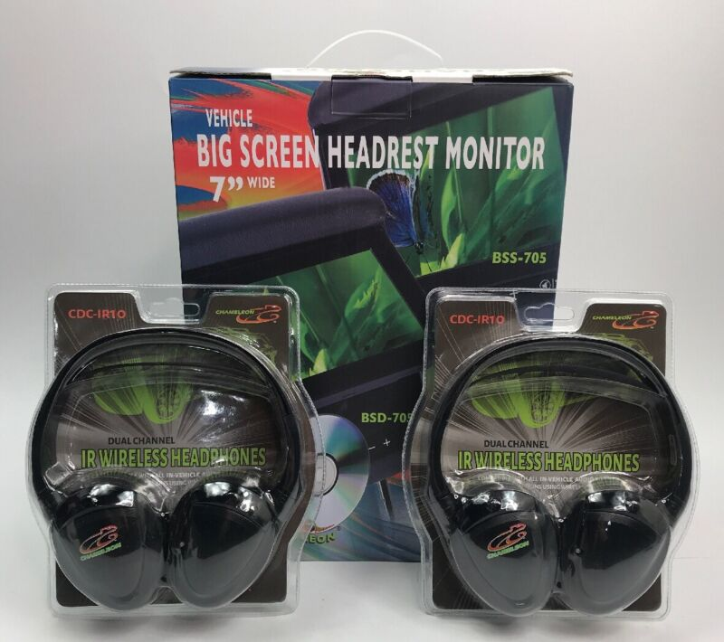 """Concept BSS-705  7"""" LCD Headrest Monitors, 3 Color Covers And 2 Sets Headphones"""