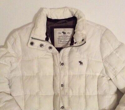 Abercrombie & Fitch White Puffer Jacket Coat Size Medium M Cute!