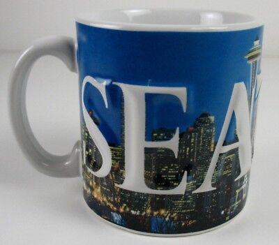 Skyline Large Mug (Seattle Mug - Skyline Design - Embossed Lettering - Large)