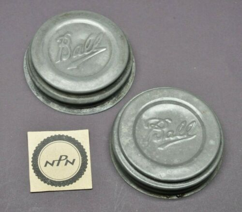 Vintage Ball Mason Fruit Jar Genuine Zinc Caps Porcelain Lined Lids Qty of 2