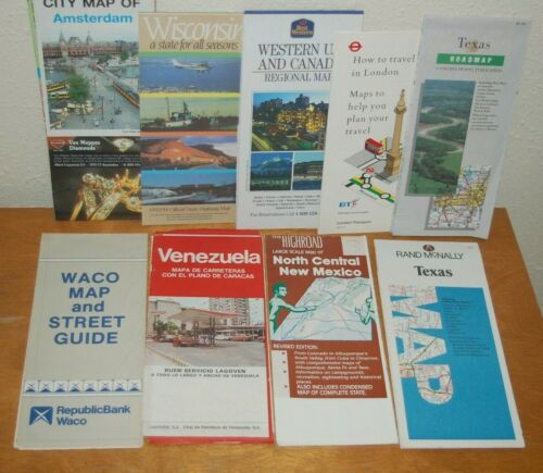 Vintage Lot of ~ Maps, Information, Guides, Texas, London, Canada, Wisconsin