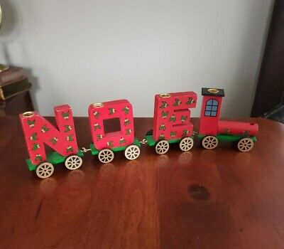 Set Of 4 Vintage Christmas NOEL Wood Train Candle Holder Red Green