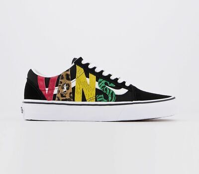 Womens Vans Old Skool Trainers Multi Animal Black Trainers Shoes