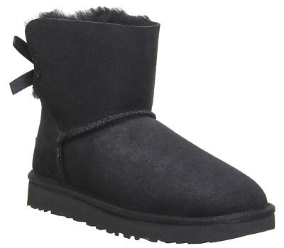 UGG AUSTRALIA MINI BAILEY BOW II WOMENS UK 5.5 BLACK SUEDE SHEEPSKIN ANKLE BOOTS