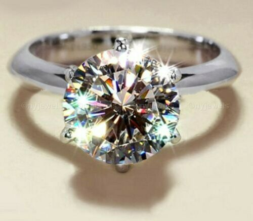 3CT ROUND CUT MOISSANITE DIAMOND SOLITAIRE ENGAGEMENT RING 14K WHITE GOLD