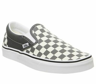 Mens Vans Vans Classic Slip On Trainers Pewter White Checkerboard Trainers Shoes
