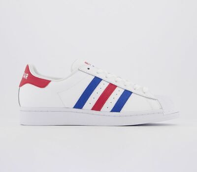 Mens Adidas Superstar Trainers White Blue Red Trainers Shoes