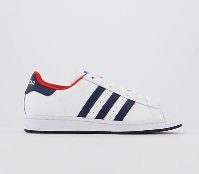 Mens Adidas Superstar Trainers White Navy Red Trainers Shoes