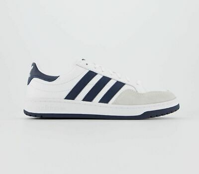 Mens Adidas Team Court Trainers White Dark Navy Crystal White Trainers Shoes
