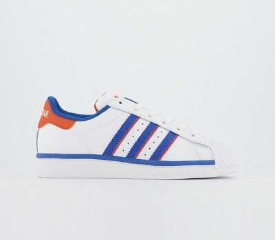 Adidas Superstar Trainers White Blue Orange Trainers Shoes