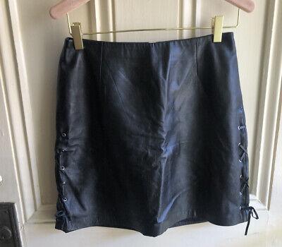 Vintage 100% Soft Leather Lace Up Side Tie Black Mini Skirt Lined Cache Sz 0-2